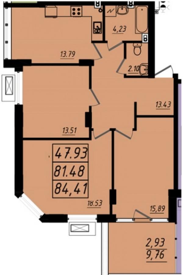 Планировки трехкомнатных квартир 84.41 м^2